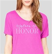 Matron Of Honor Modern Flowy T-Shirt: Magenta