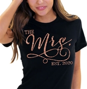 The Mrs. EST Modern Rose Gold T-Shirt | Bridal T-shirts | RhinestoneSash.com