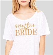 """Mother Of The Bride"" Gold Rhinestud on Sheer White T-shirt 