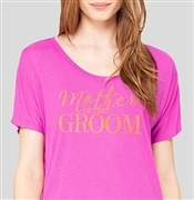 """Mother Of The Groom"" Magenta T-shirt with Gold Rhinestud 