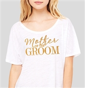 """Mother Of The Groom"" Sheer White & Gold Rhinestud T-Shirt 