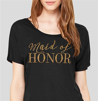 Maid of Honor Modern Gold Flowy T-Shirt: Black