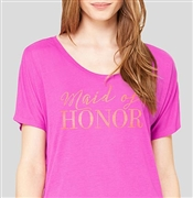 Maid of Honor Modern Gold Flowy T-Shirt: Magenta