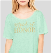 Maid of Honor Modern Gold Flowy T-Shirt: Mint