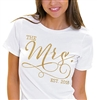 The Mrs. EST Modern Gold T-Shirt | Bridal T-shirts | RhinestoneSash.com