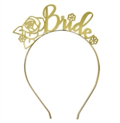 Floral Bride Metallic Gold Headband