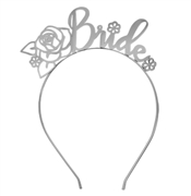 Floral Bride Metallic Silver Headband