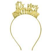 It's My Birthday Gold Headband