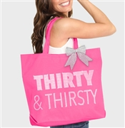 Thirty & Thirsty Rhinestone Tote | Birthday Party Totes | RhinestoneSash.com