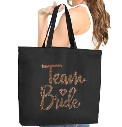 Team Bride  w/Diamond Rhinestud Large Canvas Tote