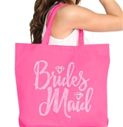 Bridesmaid w/Diamond Rhinestone Large Canvas Tote
