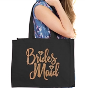 Bridesmaid w/Diamond Rhinestud Large Canvas Tote