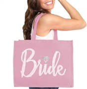 Bride w/Diamond Rhinestone Large Canvas Tote