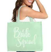 Bride Squad w/Diamond Rhinestone Large Canvas Tote