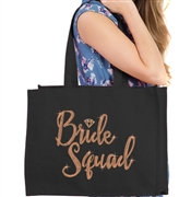 Bride Squad w/Diamond Rhinestud Large Canvas Tote