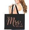 The Mrs. EST Rose Gold Glitter Chic Large Canvas Tote