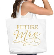 Gold The Mrs. Large Rhinestone Bride Tote Bag