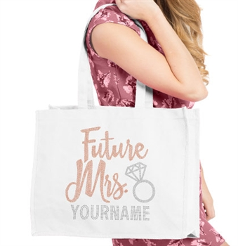 Future Mrs. Custom Rose Gold & Rhinestone Large Canvas Tote