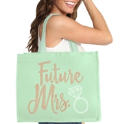 Future Mrs. Rose Gold Rhinestud Large Canvas Tote