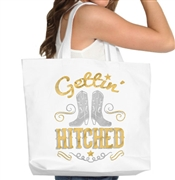 Gettin' Hitched Gold & Silver Foil Tote