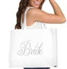 Flirty Bride Large Canvas Tote | Bride Tote | RhinestoneSash.com