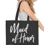 Maid of Honor Glam Rhinestone Large Canvas Tote | Bridal Party Totes | RhinestoneSash.com