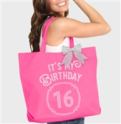It's My Birthday '16' Frame Rhinestone Tote | Birthday Party Totes | RhinestoneSash.com