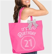 It's My Birthday '21' Frame Rhinestone Tote | Birthday Party Totes | RhinestoneSash.com