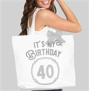 It's My Birthday '40' Frame Rhinestone Tote | Birthday Party Totes | RhinestoneSash.com