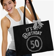 It's My Birthday '50' Frame Rhinestone Tote | Birthday Party Totes | RhinestoneSash.com