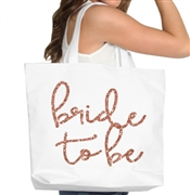 Bride To Be Rose Gold Large Canvas Tote