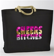Sequin 'Cheers Bitches' Jute Large Tote