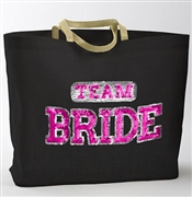 Sequin Sporty 'Team Bride' Black Jute Large Tote | Bridesmaid Gift Ideas