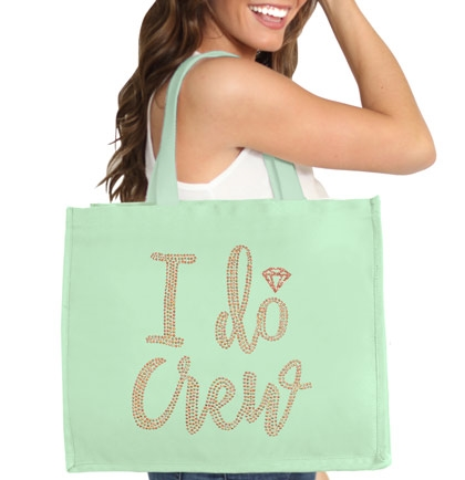 I Do Crew w/Diamond Rose Gold Rhinestud Large Canvas Tote | Bridesmaid Tote Bag