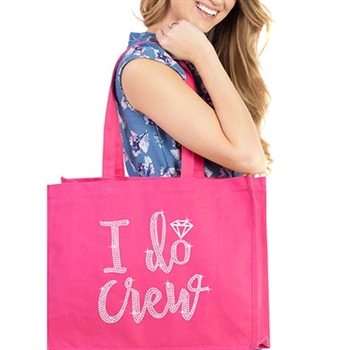 I Do Crew w/Diamond Rhinestone Large Canvas Tote | Bridesmaid Tote Bag