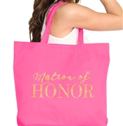 Matron of Honor Gold Large Canvas Tote