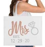 Rose Gold Mrs. & Wedding Date Custom Large Canvas Tote