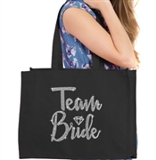 Team Bride w/Diamond Rhinestone Large Canvas Tote | Bridesmaid Tote Bag