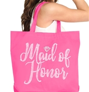 Maid of Honor w/Diamond Rhinestone Large Canvas Tote