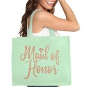 Maid of Honor w/Diamond Rhinestud Large Canvas Tote
