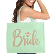 Bride w/Diamond Rose Gold Rhinestud Large Canvas Tote