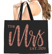 The Mrs. EST 2020 Glam Rose Gold Large Canvas Tote | Gifts for the Bride