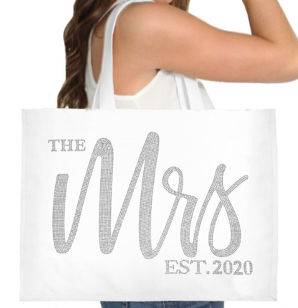The Mrs. EST 2020 Glam Rhinestone Large Canvas Tote | Gifts for the Bride