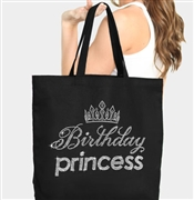 Birthday Princess Glitter Tiara Tote Bag