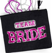 Sporty Team Bride Black Zipper Pouch