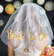 Gold Bride to Be w/Diamond Veil - White | Bridal Hats & Veils | RhinestoneSash.com