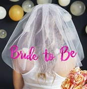 Pink Bride to Be w/Diamond Veil - White