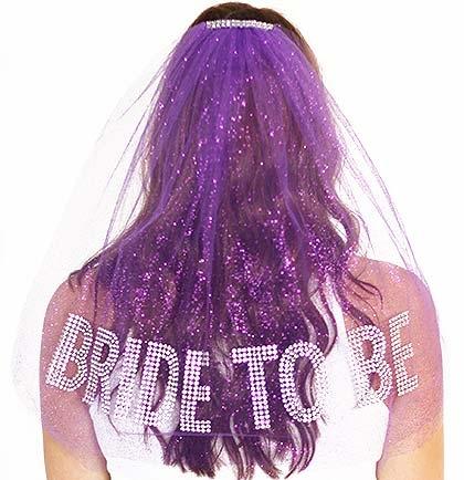Gem Bride To Be Rhinestone Veil Purple