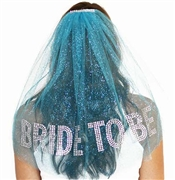 Gem Bride To Be Rhinestone Veil: Turquoise Blue