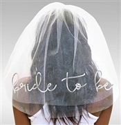 Bride to Be Silver Foil Veil: White